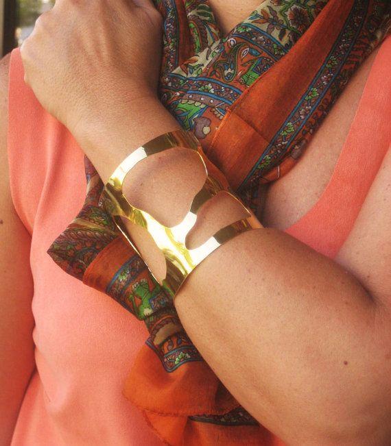 Gold bracelet 18kt goldplated bronze by TzenNikoletta on Etsy