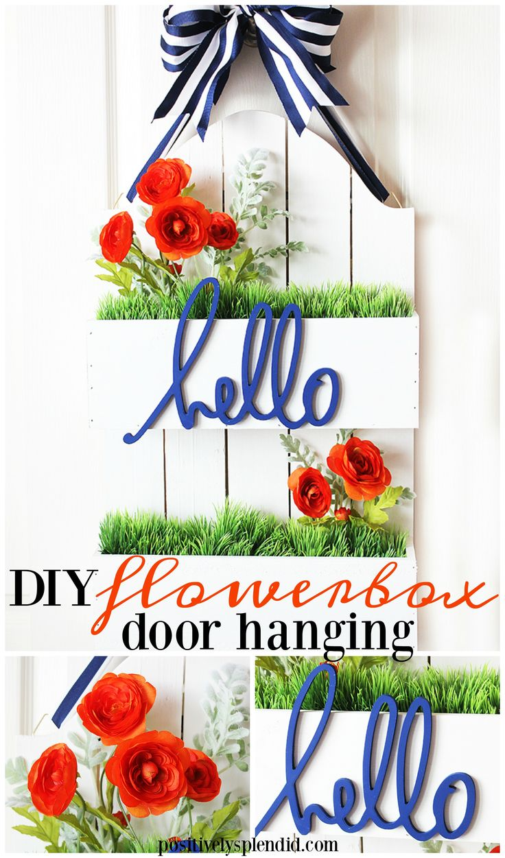 DIY Flowerbox Door Hanging at Positively Splendid. Such unique and pretty DIY craft project idea, and so easy! #michaelsmakers