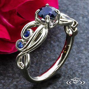 My Custom Jewelry Design at Green Lake Jewelry Works Custom 14kt white gold organic vine and swirl sapphire engagement ring