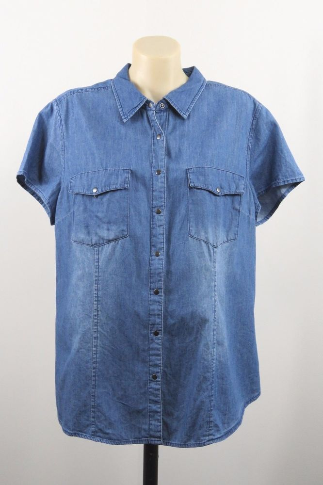 Size 2XL 18 Ladies Denim Shirt Top Casual Work Weekend Resort Country Design EUC #NOW #ButtonDownShirt #Casual