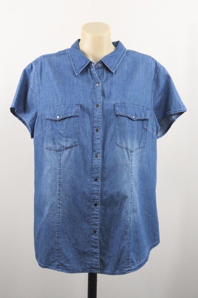 Size 2XL 18 Ladies Denim Shirt Top Casual Work Weekend Resort Country Design EUC #NOW #ButtonDownShirt #Casual