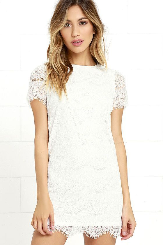 Lulus Exclusive! Perfect for many occasions, the Take Me to Brunch Ivory Lace Shift Dress is sure to become a staple in your wardrobe! Lively eyelash lace creates an eye-catching overlay across knit fabric through a rounded neckline, and into sheer short sleeves. Shift silhouette and scalloped hem. Hidden back zipper with clasp.
