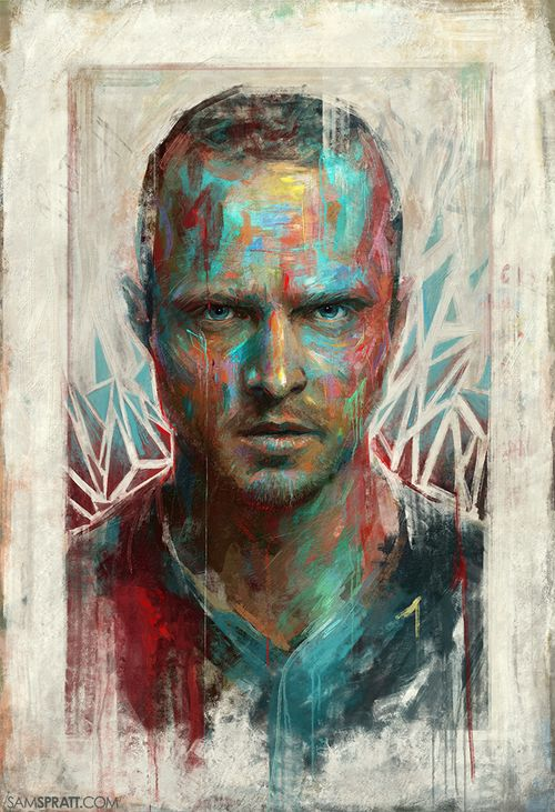 """Bitch"" - Portrait of Aaron Paul/Jesse Pinkman by Sam Spratt  These crazy colorful paintings are always the most relaxing to make."