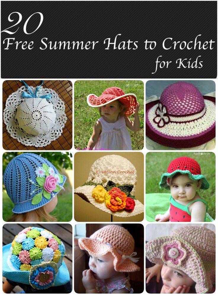 20 Free Summer Hats to Crochet for Kids