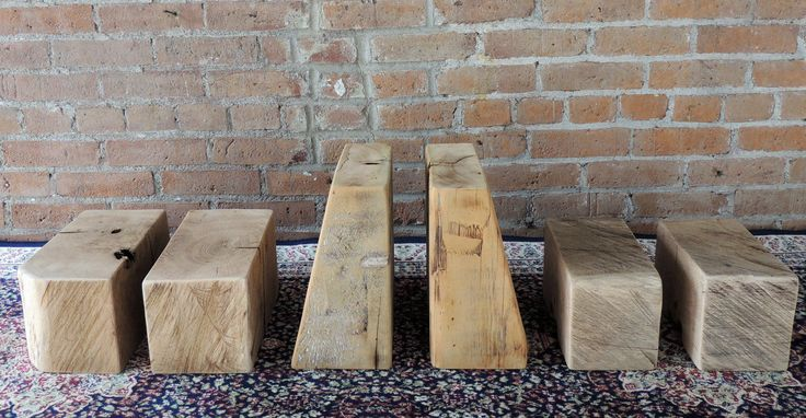 Rustic Bookends - Reclaimed Bookends - Accent Pieces - Unique Old Growth Patina - Group of 3 - Pairs of Bookends by Harvestbilt on Etsy