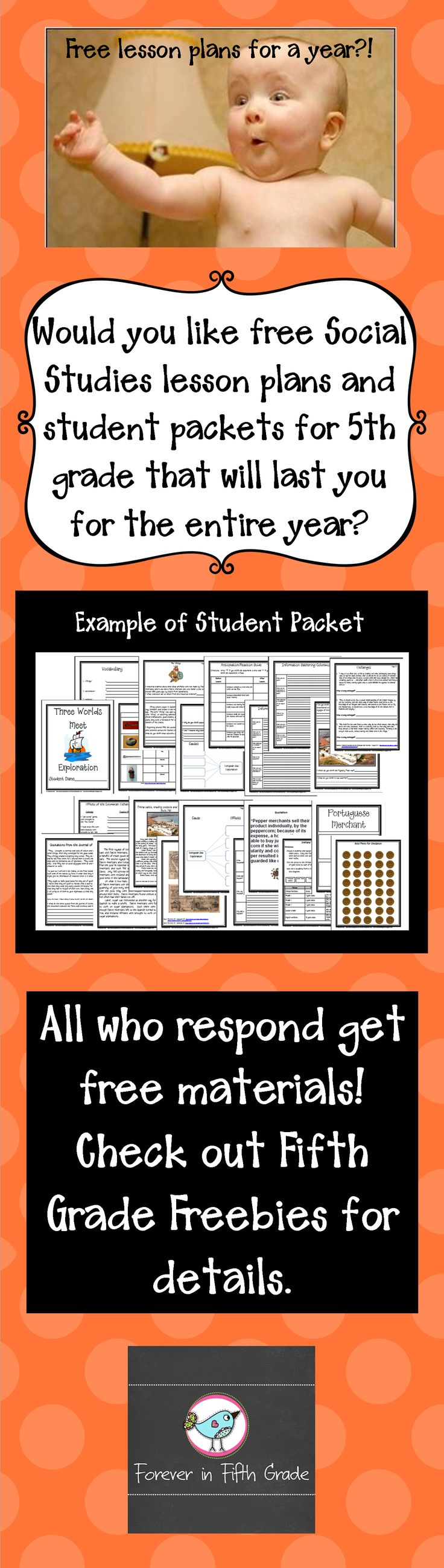 Free social studies lesson plans and student packets for a year!  Check out Fifth Grade Freebies for details.