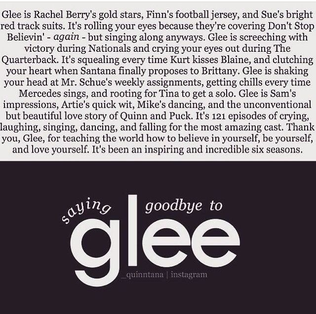 Thank you glee for making me be me this show is the best show I've ever watched i have rewatched this show every season every episode. I remeber watching the last episode air of seaso =n six of glee I cried.. this show is one one of the best.. bravo minknley high