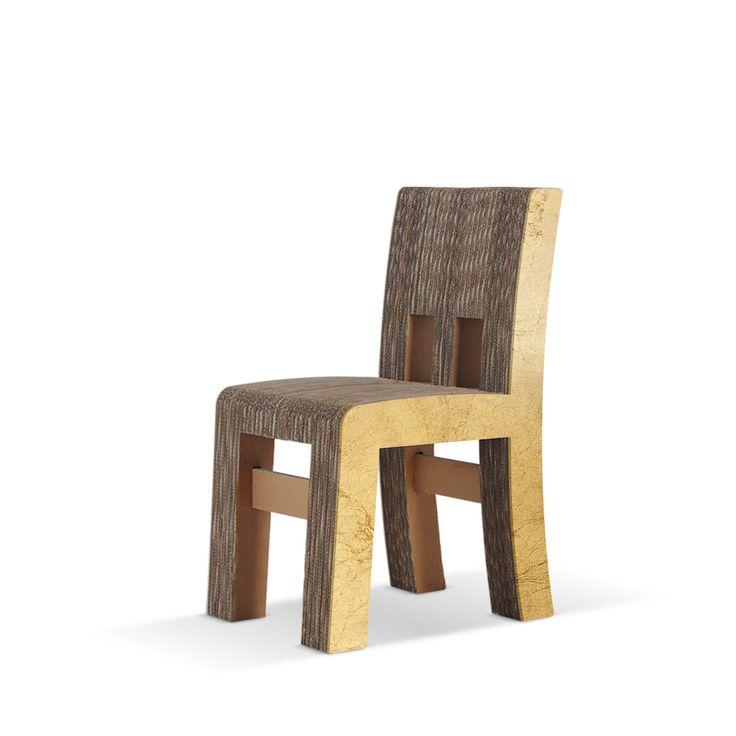 CAMPAGNOLA - Carton Factory Designer: Carton Factory Misure: 40 X 54 X 85h  Sedia in cartone con profilo in Mdf foglia oro.   #cartonfactory #ecodesign #cardboard #design #chair