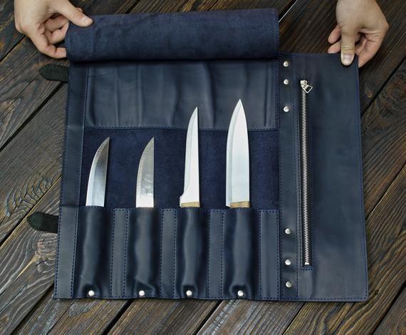 Leather Knife Roll Knife Roll Bag Chefs Bag Personalized Roll Etsy In 2020 Knife Roll Leather Roll Knife