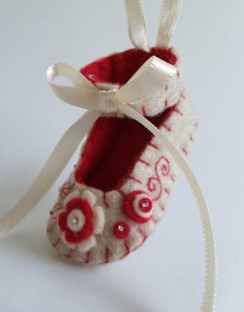 Felt Baby Shoe Ornament by myheartsdesire1871 on Etsy, $19.50