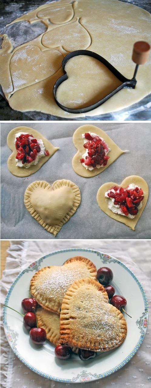 (link) Sweetheart Cherry Pies ~ INGREDIENTS: pie dough / fresh cherries, chopped / ricotta cheese (cream or brie?) / sprinkle of sugar / 1 TBSP butter, melted