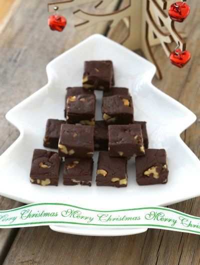An easy recipe for delicious dark chocolate fudge filled with walnuts. No baking required, it is gluten free and only takes 5 ingredients!!