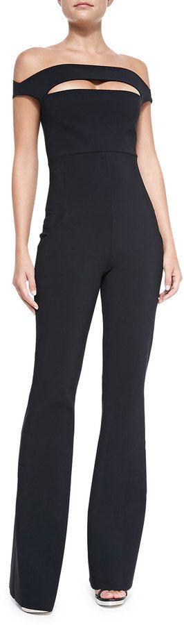 $695, Black Jumpsuit: La Petite Robe di Chiara Boni Rebecca Off Shoulder Peekaboo Jumpsuit. Sold by Neiman Marcus. Click for more info: http://lookastic.com/women/shop_items/147488/redirect