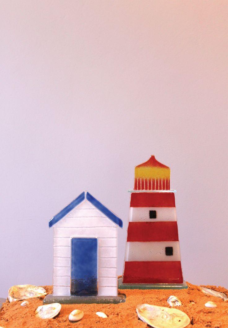 Glass beach huts and light houses from D & J Glassware. www.dandjglassware.co.uk
