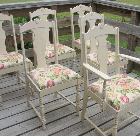 """Shabby chic chairs"" Sorry but in my opinion there is nothing shabby about these....The only thing I would change is the fabric but overall--PERFECT."