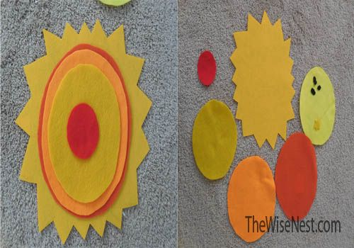 Parts of the sun with felt.  A link to a great 46 page study of the sun.  A sun cut and paste worksheet.