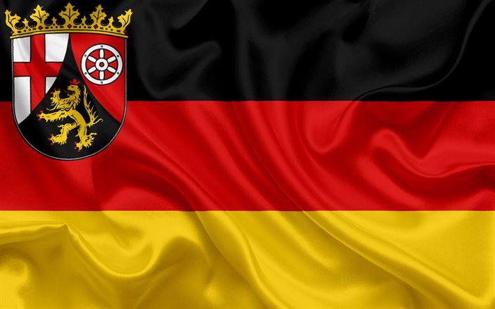 Descargar fondos de pantalla Bandera de Renania-Palatinado, la Tierra de Alemania, las banderas de Tierras germanas, Renania-Palatinado, los Estados de Alemania, bandera de seda, República Federal de Alemania