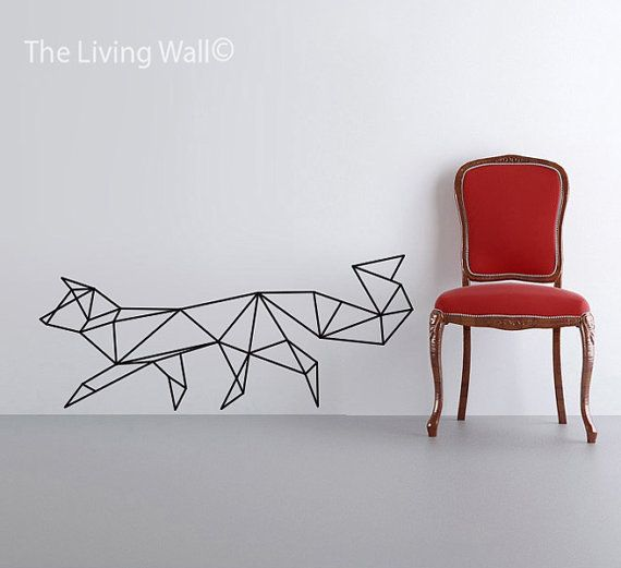Geometric Fox Wall Decal, Geometric Foxes Decals, Fox Home Decor Wall Decals…