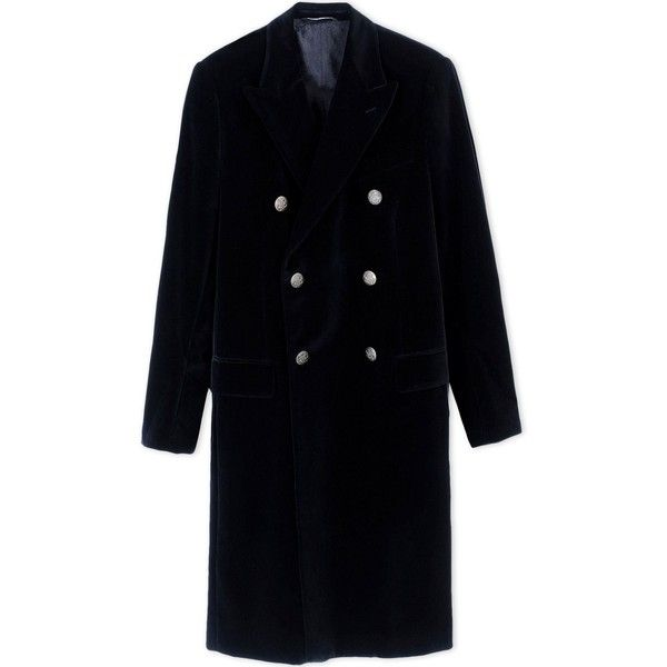 Dolce & Gabbana Coat (23.945 CZK) ❤ liked on Polyvore featuring men's fashion, men's clothing, men's outerwear, men's coats, black, mens velvet sport coat and mens fur collar coat