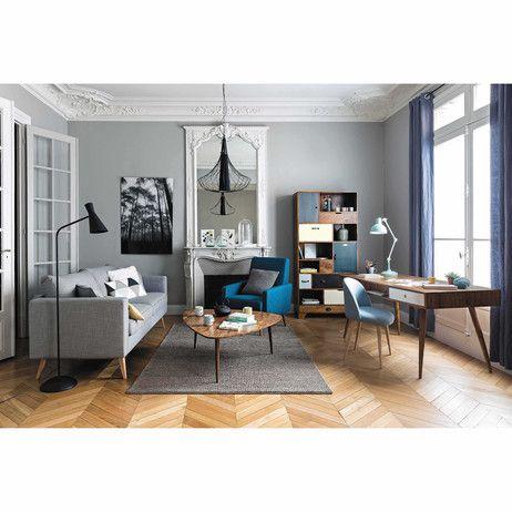 Sofá 3 plazas de tela gris claro Brooke   Maisons du Monde