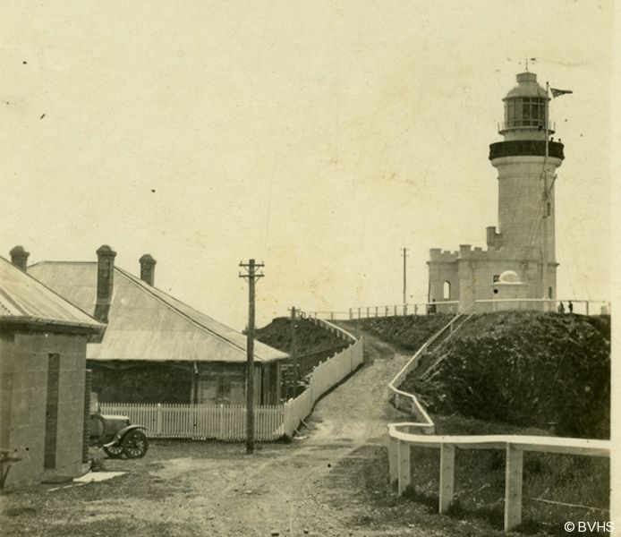 Lighthouse Keepers Houses and Cape Byron Lighthouse circa 1928