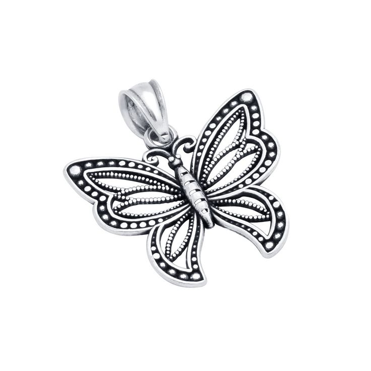 -.925 Sterling Silver, Nickel-free -Oxidized Finish -20mm wide Butterfly Pendant -Intricate design pattern and milgrain -Zulysdesing.com guarantees our Sterling Silver Merchandise is 925 Sterling -Thi