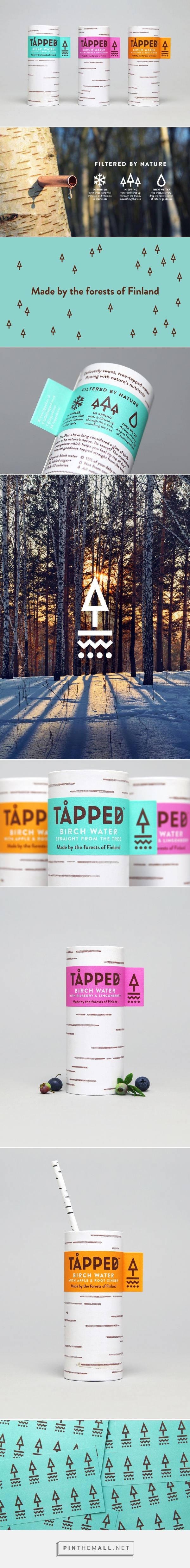 Tapped Birch Water by Horse via BP&O curated by Packaging Diva PD. Tapped worked with graphic design studio Horse to develop a brand identity and package design that would communicate the Nordic and birch tree origin of the water, distinguish it from other waters.