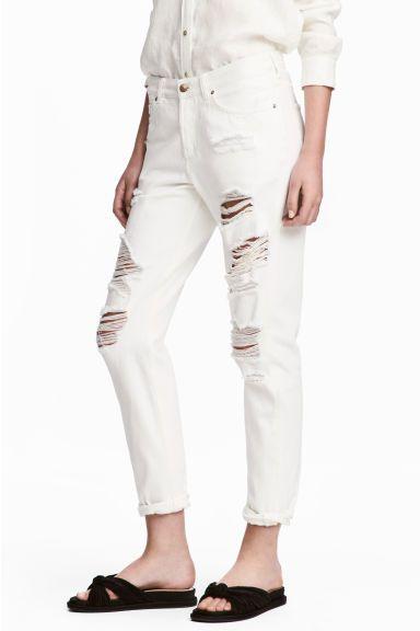 Boyfriend Low Ripped Jeans - Biały denim - ONA | H&M PL 1