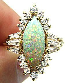Vintage 3 50ctw Australian Fiery Opal Diamond Solid Gold Cluster Cocktail Ring   eBay #OpalRIngs #OpalJewelry