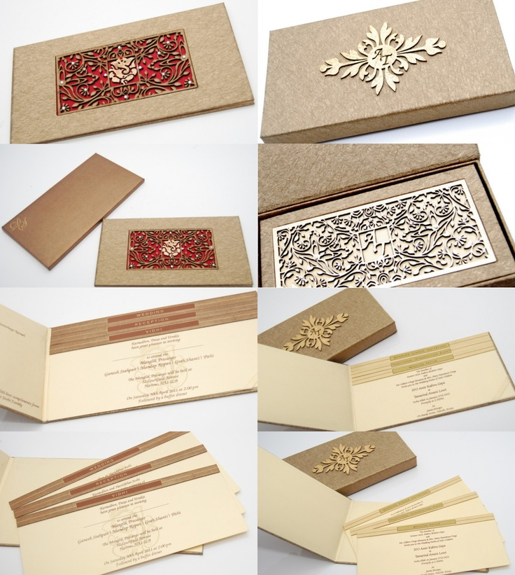 Engraved wood and red satin wedding invitations, gold wooden boxes for wedding invitations