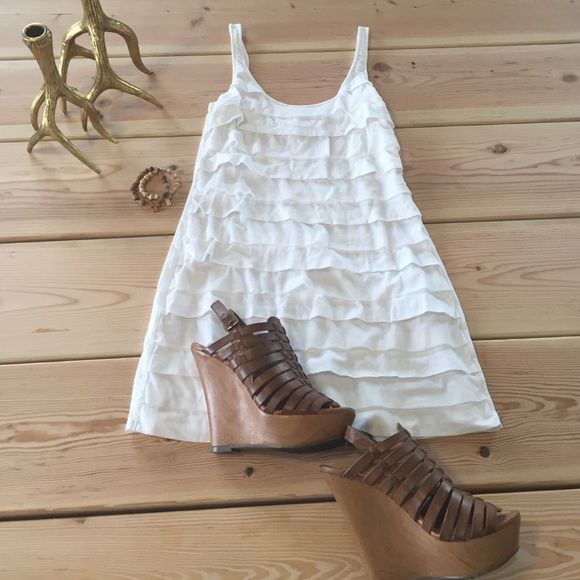 White mixed cotton and mesh dress White light weight ruffle dress. Express Dresses Mini