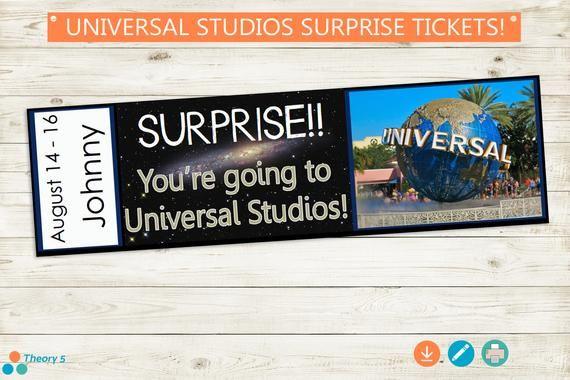 Universal Studios Surprise Trip Reveal Tickets Adobe Etsy In 2020 Universal Studios Universal Studios Tickets Surprise Trip Reveal