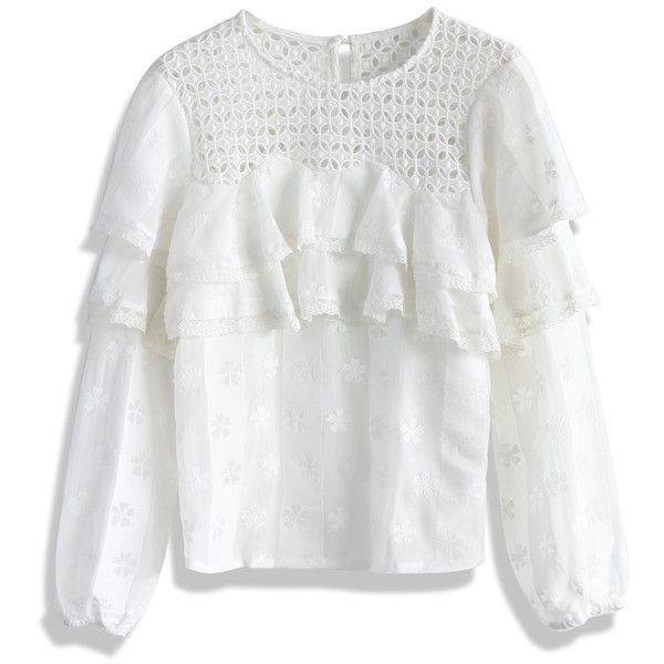 Chicwish Elated Tiered Lace White Top (£29) ❤ liked on Polyvore featuring tops, blouses, white, sheer blouse, dressy blouses, sheer lace blouse, dressy white blouses and white blouse