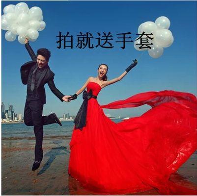 2016 새로운 스튜디오 테마 의류 브라 웨딩 드레스 커플 사진 서비스 위치 촬영 후행 빨간색