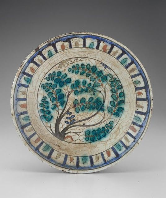 Plate | Origin:  Iran | Period: 17th century  Safavid period | Details:  Not Available | Type: Stone-paste painted under glaze | Size: W: 9.4  cm | Museum Code: S1997.57 | Photograph and description taken from Freer and the Sackler (Smithsonian) Museums.