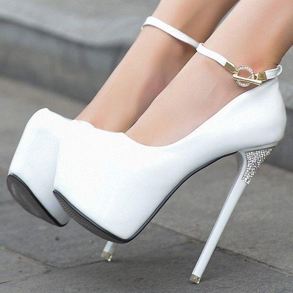 Lady's Ultra Plain Stiletto Sexy Pu Platform Heel Toe Round High Yb67yfgv
