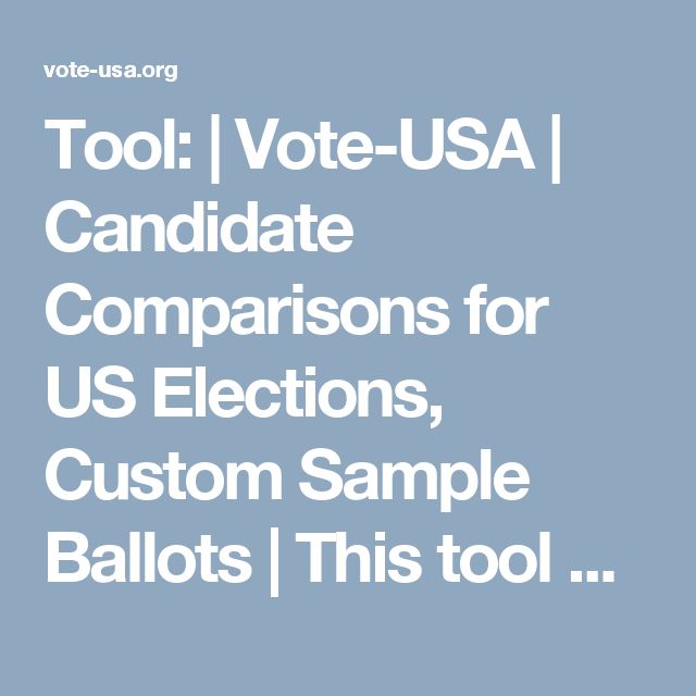 Tool: | Vote-USA | Candidate Comparisons for US Elections, Custom Sample Ballots | This tool creates a sample ballot for upcoming elections based on your address or 9-digit zip code.