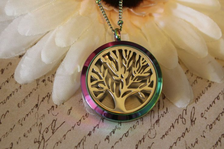 Aromatherapy essential oil pendant rainbow stainless steel necklace tree of life