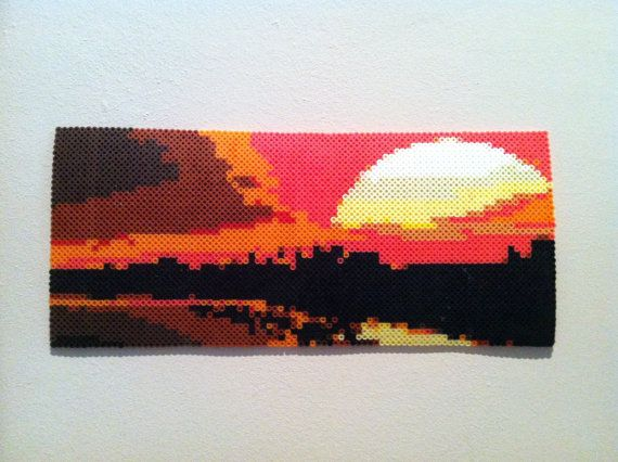 Sunset Landscape perler beads Hanging Wall Art by SweetLolitas