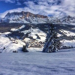 The town of San Linêrt in #Badia #Dolomites @altabadiaorg #dolomitesski #winter #landscape #mountains