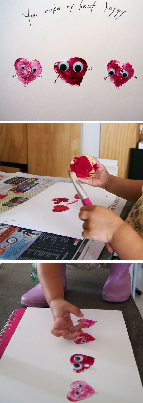 Potato Stamp Valentine's Day Craft   Click Pic for 26 DIY Valentines Day Crafts for Kids to Make   Easy Valentine Crafts for Toddlers to Make