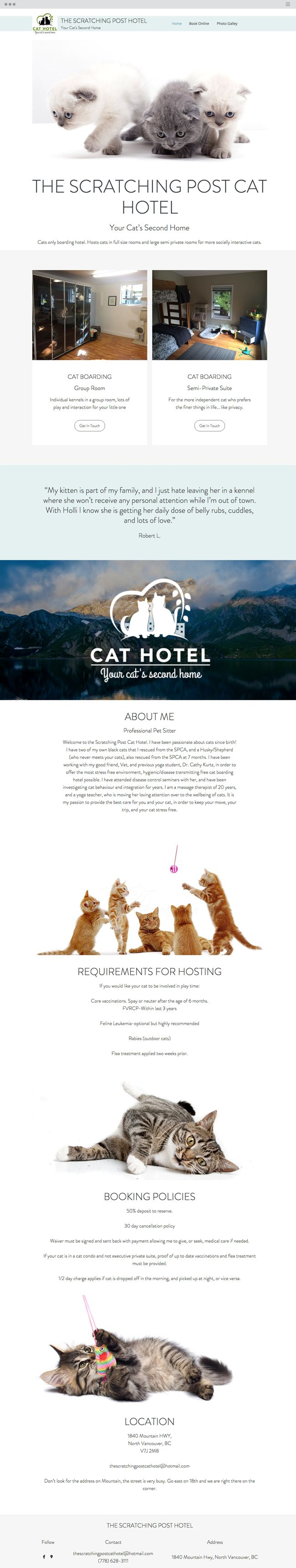 The Scratching Post Cat Hotel | Created using Wix ADI