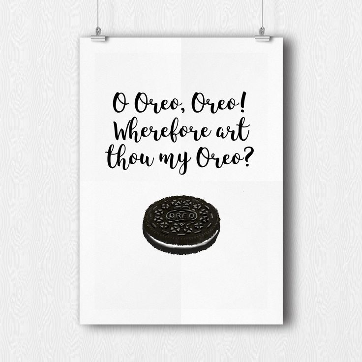 Oreo Funny kitchen pun print, kitchen decoration, printable kitchen poster, printable home and office decor, instant download by SugarushPrintables on Etsy