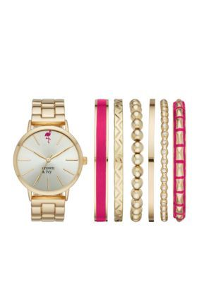 Crown & Ivy™ Women's Women's Gold-Tone Boyfriend Watch & Bracelet Set - Gold-Tone - One Size