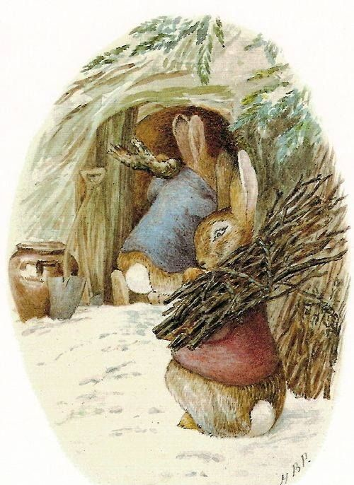 """ballerina67:    """"PREPARING FOR COLD WEATHER""""Peter Rabbit and Benjamin Bunny by Beatrix Potter"""