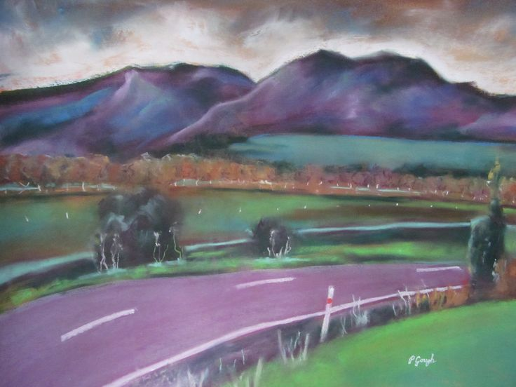 Pauline Gough: Mixed Media Art. www.artfind/... www.mangawhaiarti... © Pauline Gough. This image may not be reproduced or copied in whole or part without prior consent of the owner. All rights reserved. Tangowahine Landscape - Pastel (framed)