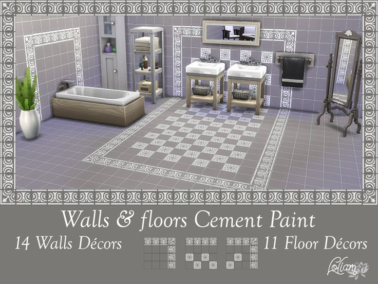 LoliamSims' Set Walls and Floors Tile painted of Cement