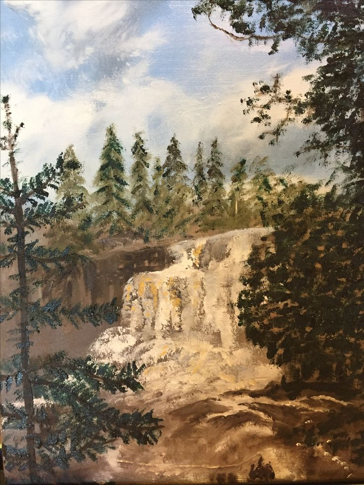 Gooseberry Falls-oil on canvas by Carol Rich