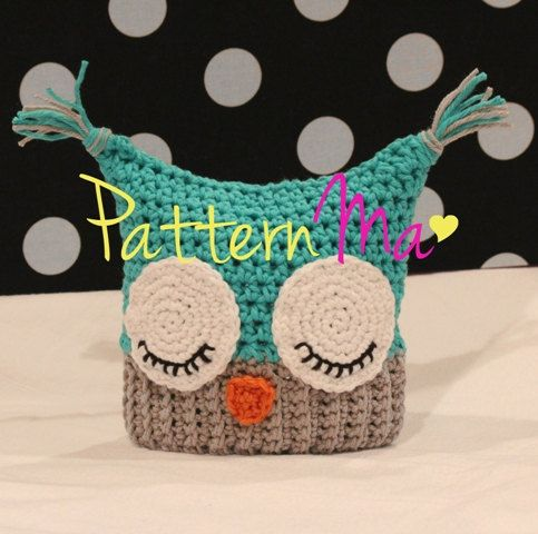Crochet Baby Hat Pattern Sleepy Owl by PatternMa on Etsy,