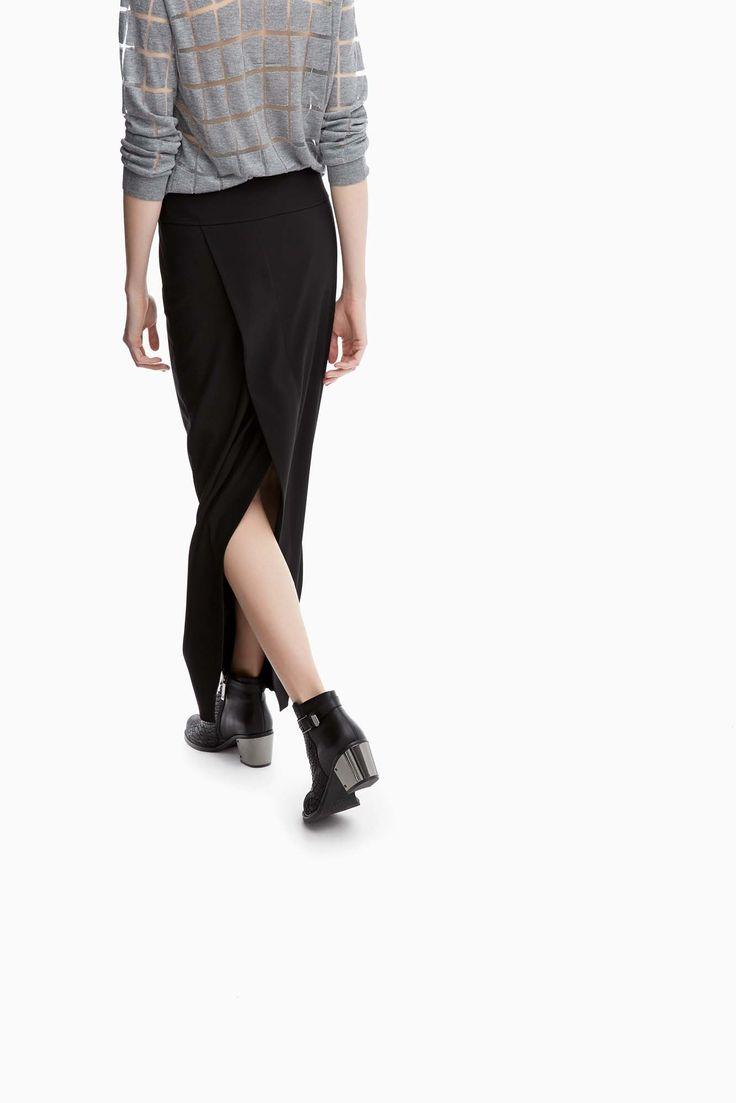 Falda tubo larga cruzada en la espalda - faldas | Adolfo Dominguez shop online